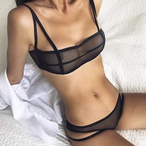 Leon Bando handmade black mesh bikini panty